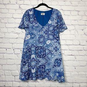 Show Me Your Mumu Kylie Blue Bandana Dress L